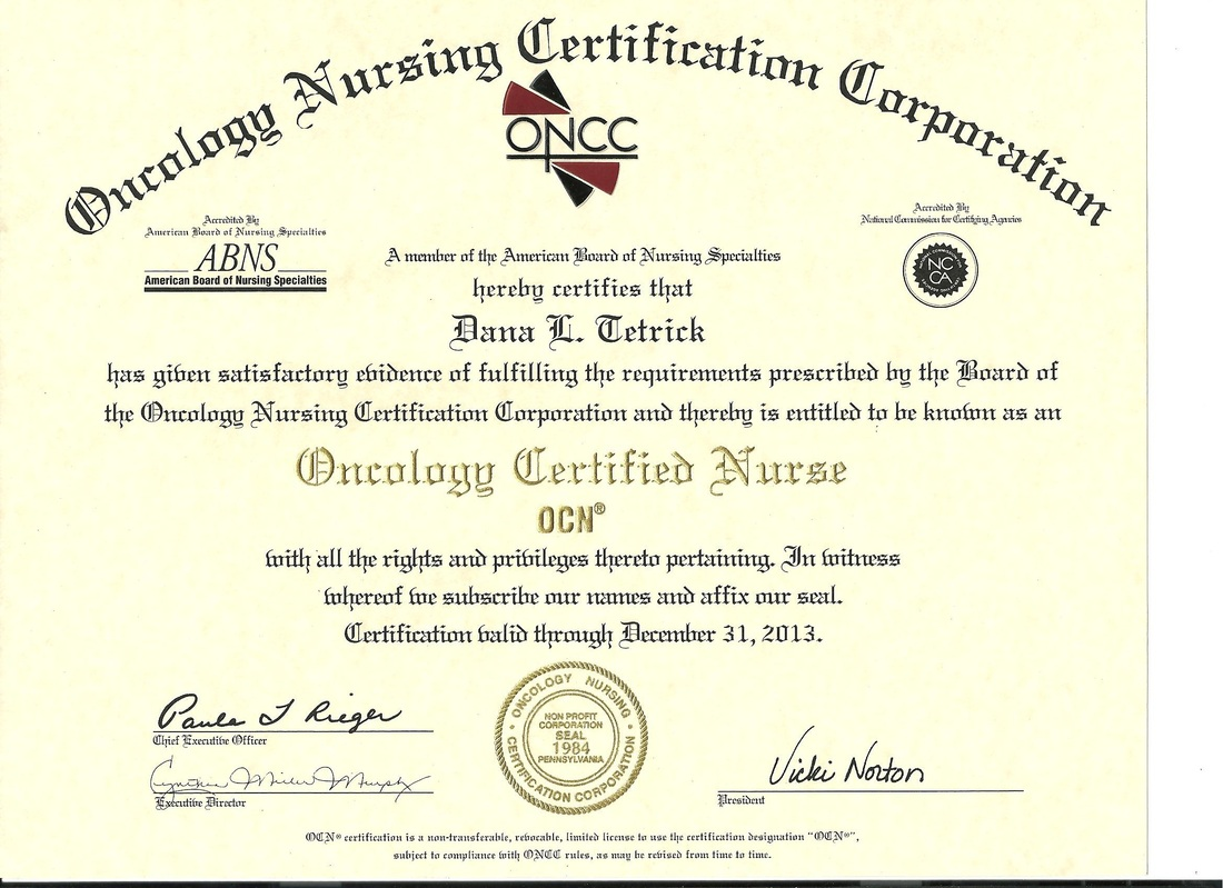 Oncology certified nurse certificate dana tetricks level iii oncology certified nurse 1betcityfo Choice Image